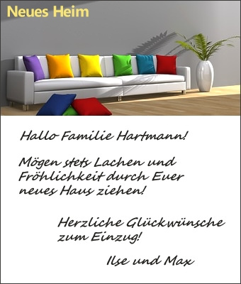 gl ckwunschkarten zum einzug umzug. Black Bedroom Furniture Sets. Home Design Ideas